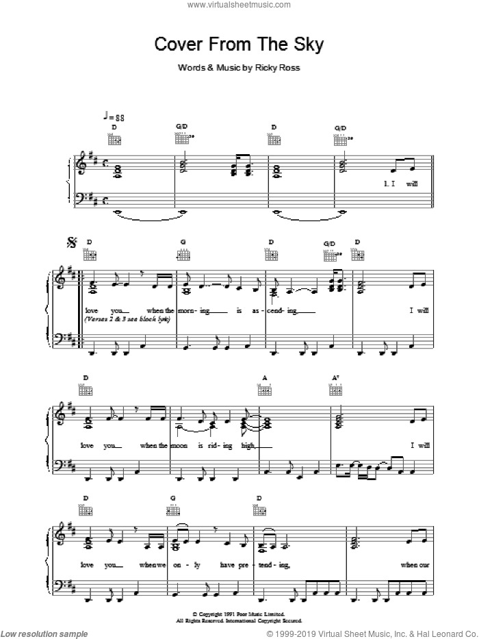 Cover From The Sky sheet music for voice, piano or guitar by Deacon Blue, intermediate. Score Image Preview.