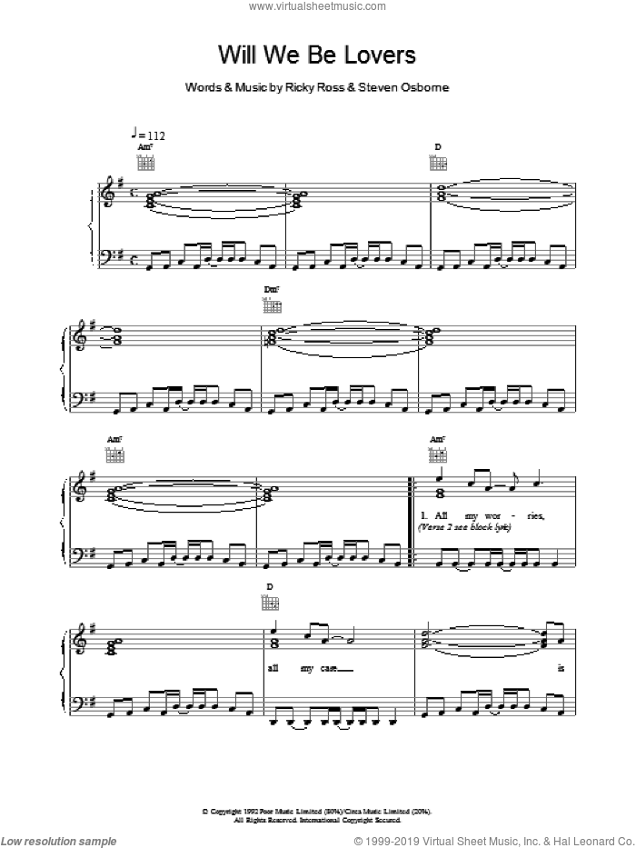 Will We Be Lovers sheet music for voice, piano or guitar by Deacon Blue. Score Image Preview.