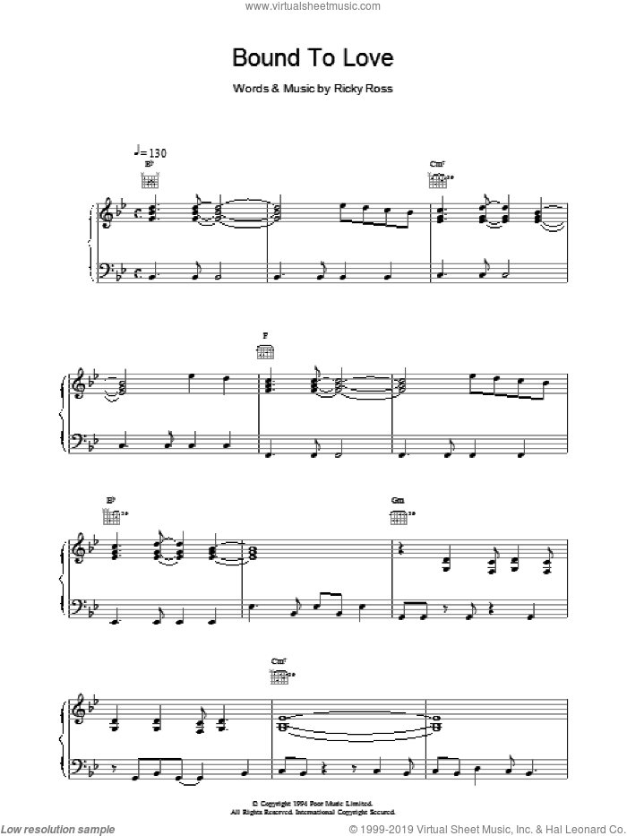 Bound To Love sheet music for voice, piano or guitar by Deacon Blue. Score Image Preview.