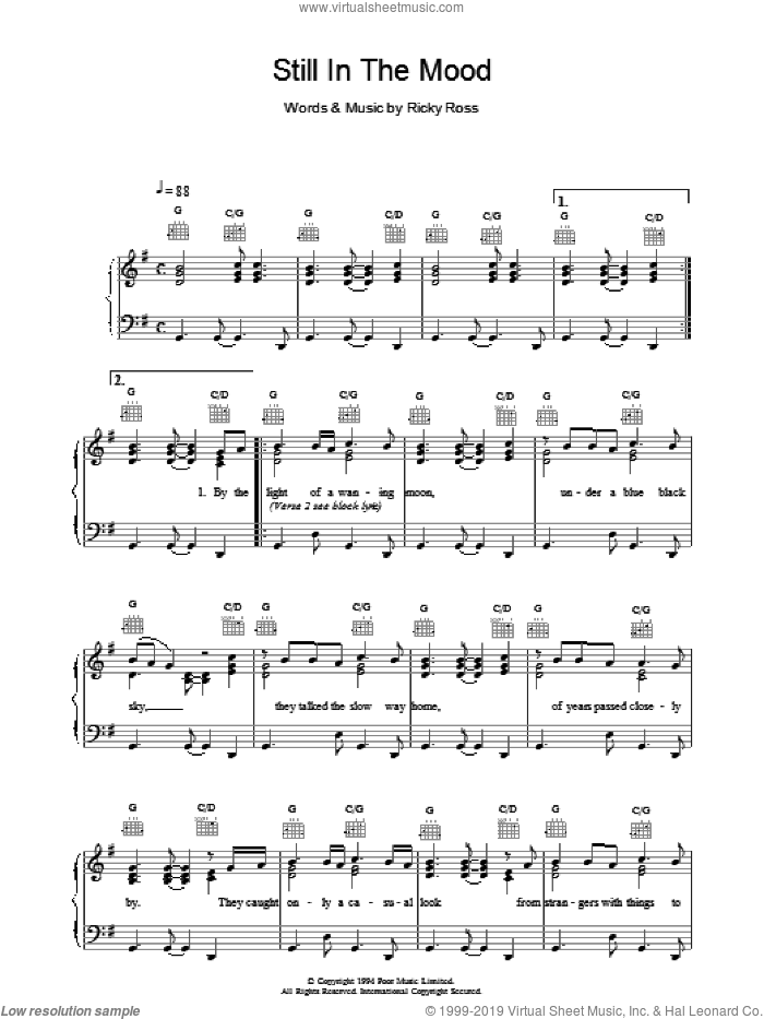 Still In The Mood sheet music for voice, piano or guitar by Deacon Blue, intermediate