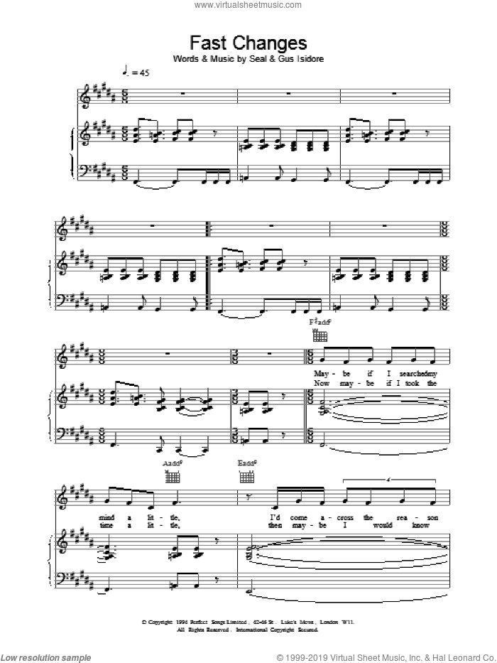 Fast Changes sheet music for voice, piano or guitar by Manuel Seal, intermediate voice, piano or guitar. Score Image Preview.