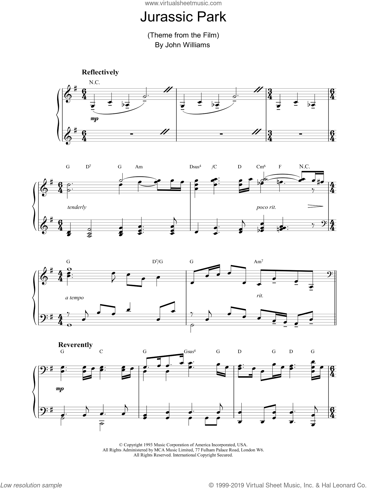 Jurassic Park sheet music for piano solo by John Williams. Score Image Preview.