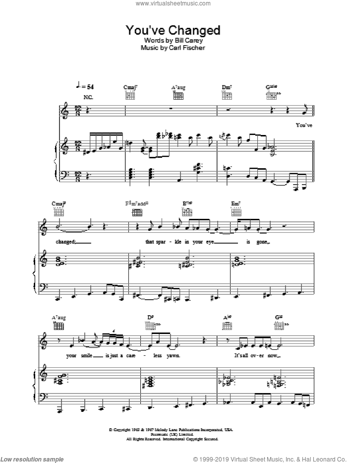 You've Changed sheet music for voice, piano or guitar by Eva Cassidy, intermediate skill level