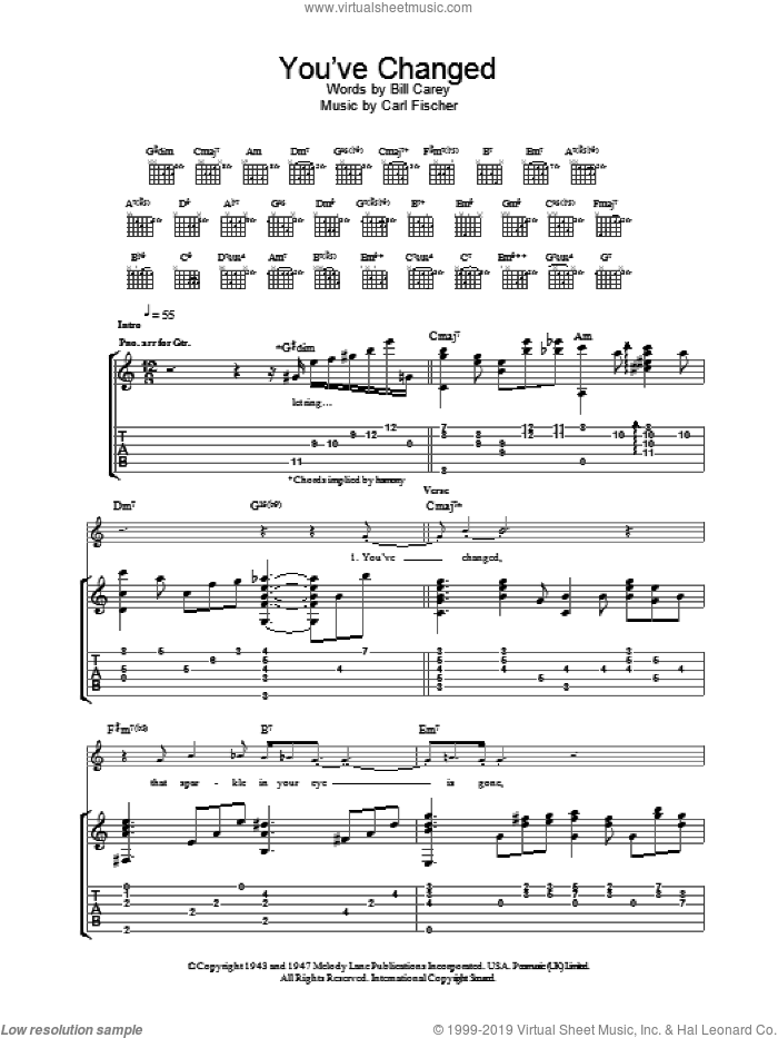 You've Changed sheet music for guitar (tablature) by Eva Cassidy