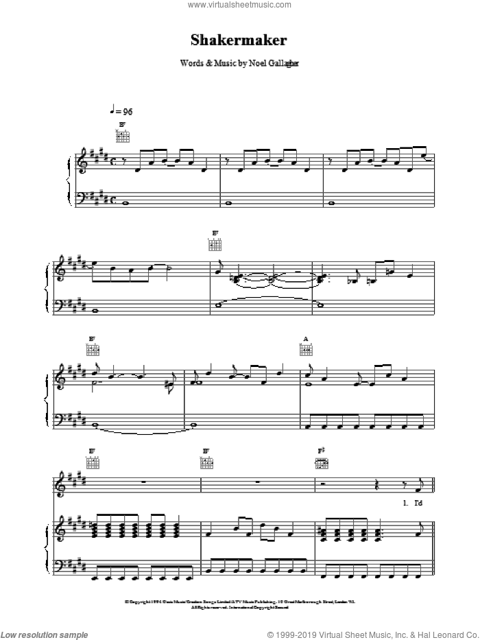 Shakermaker sheet music for voice, piano or guitar by Oasis, intermediate skill level