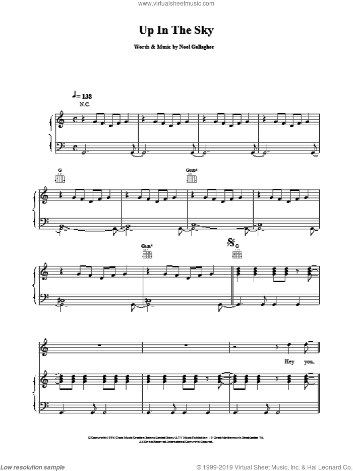 Up In The Sky sheet music for voice, piano or guitar by Oasis. Score Image Preview.