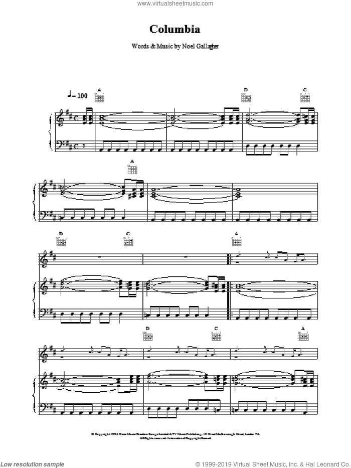 Columbia sheet music for voice, piano or guitar by Oasis, intermediate skill level