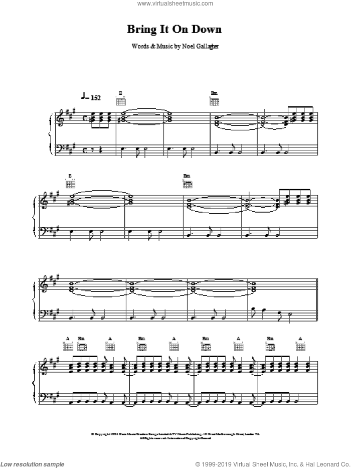 Bring It On Down sheet music for voice, piano or guitar by Oasis