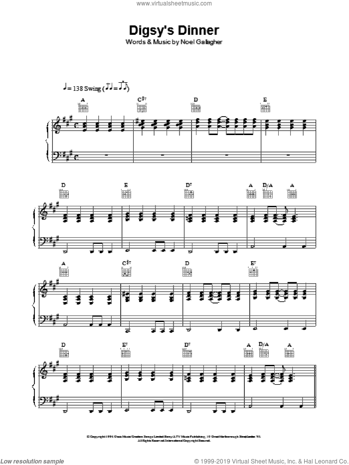 Digsy's Dinner sheet music for voice, piano or guitar by Oasis, intermediate skill level