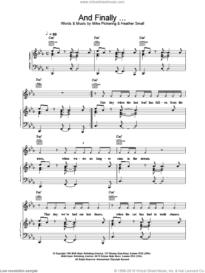 And Finally sheet music for voice, piano or guitar by M People. Score Image Preview.