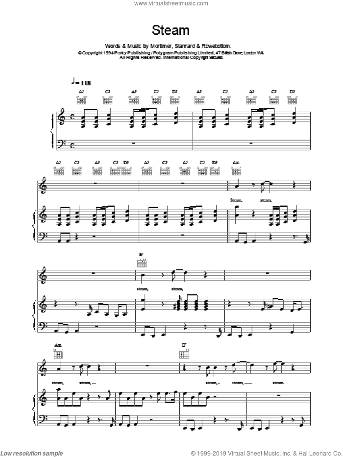 Steam sheet music for voice, piano or guitar by East 17. Score Image Preview.