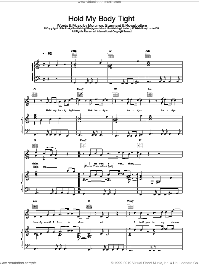 Hold My Body Tight sheet music for voice, piano or guitar by East 17. Score Image Preview.
