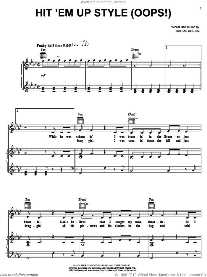 Hit 'Em Up Style (Oops!) sheet music for voice, piano or guitar by Dallas Austin. Score Image Preview.