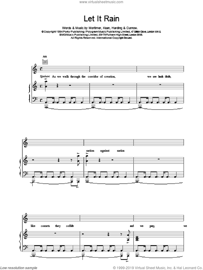 Let It Rain sheet music for voice, piano or guitar by East 17. Score Image Preview.