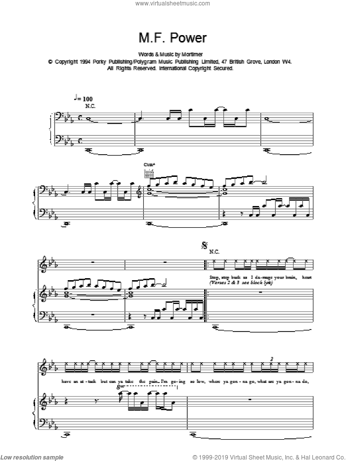M F Power sheet music for voice, piano or guitar by East 17, intermediate skill level