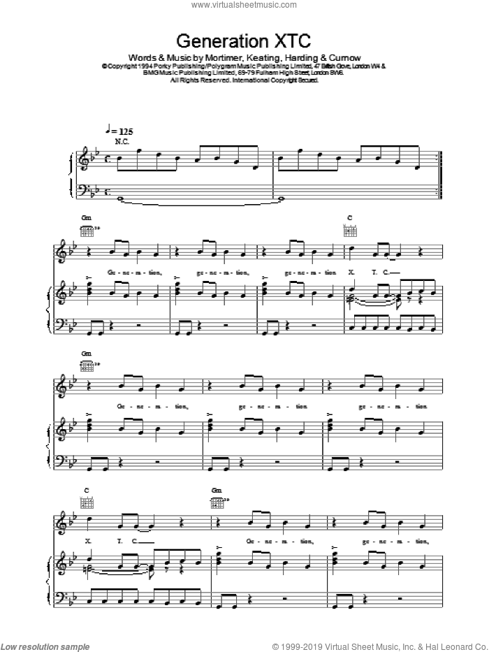 Generation XTC sheet music for voice, piano or guitar by East 17, intermediate. Score Image Preview.