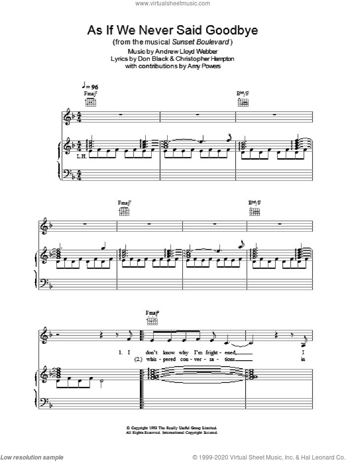 As If We Never Said Goodbye sheet music for voice, piano or guitar by Andrew Lloyd Webber. Score Image Preview.