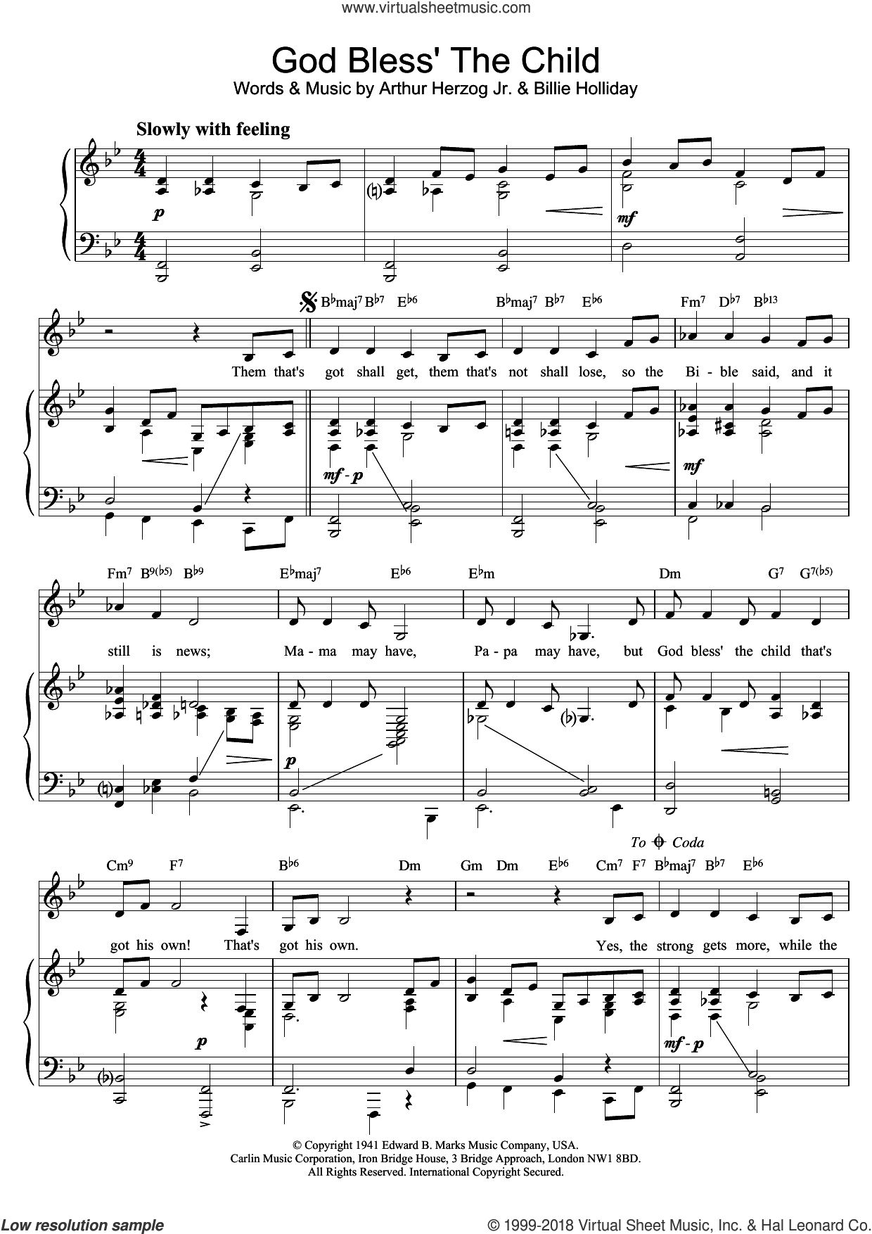God Bless' The Child sheet music for voice and piano by Billie Holiday and Arthur Herzog Jr., intermediate skill level