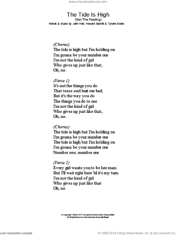 The Tide Is High (Get The Feeling) sheet music for voice and other instruments (lyrics only) by Blondie