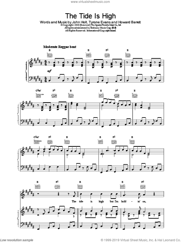 The Tide Is High sheet music for voice, piano or guitar by Blondie, intermediate skill level