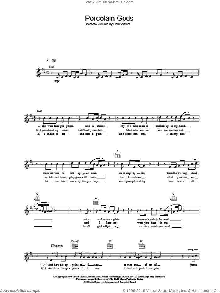 Porcelain Gods sheet music for voice and other instruments (fake book) by Paul Weller. Score Image Preview.