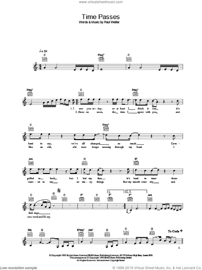 Time Passes sheet music for voice and other instruments (fake book) by Paul Weller, intermediate skill level