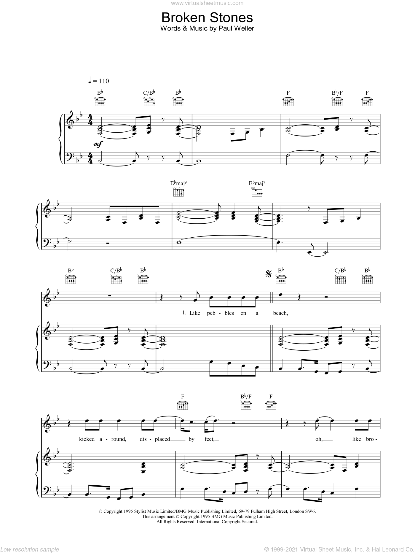 Broken Stones sheet music for voice, piano or guitar by Paul Weller. Score Image Preview.