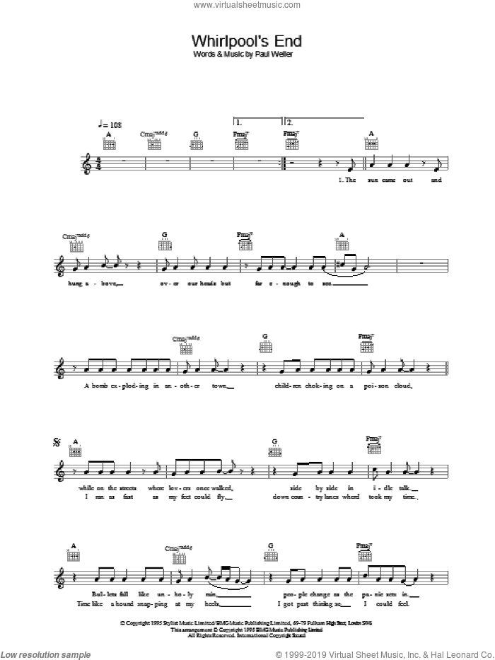 Whirlpool's End sheet music for voice and other instruments (fake book) by Paul Weller, intermediate skill level