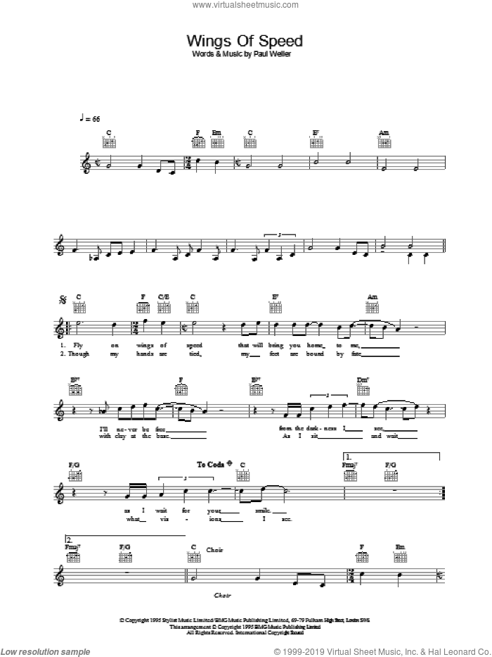 Wings Of Speed sheet music for voice and other instruments (fake book) by Paul Weller. Score Image Preview.