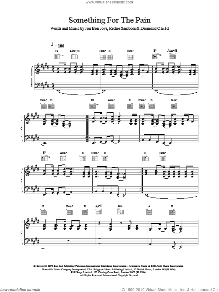 Something For The Pain sheet music for voice, piano or guitar by Bon Jovi. Score Image Preview.