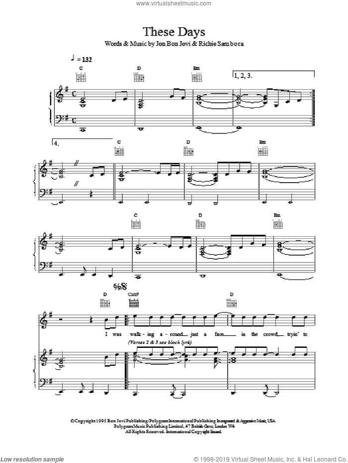 These Days sheet music for voice, piano or guitar by Bon Jovi, intermediate skill level