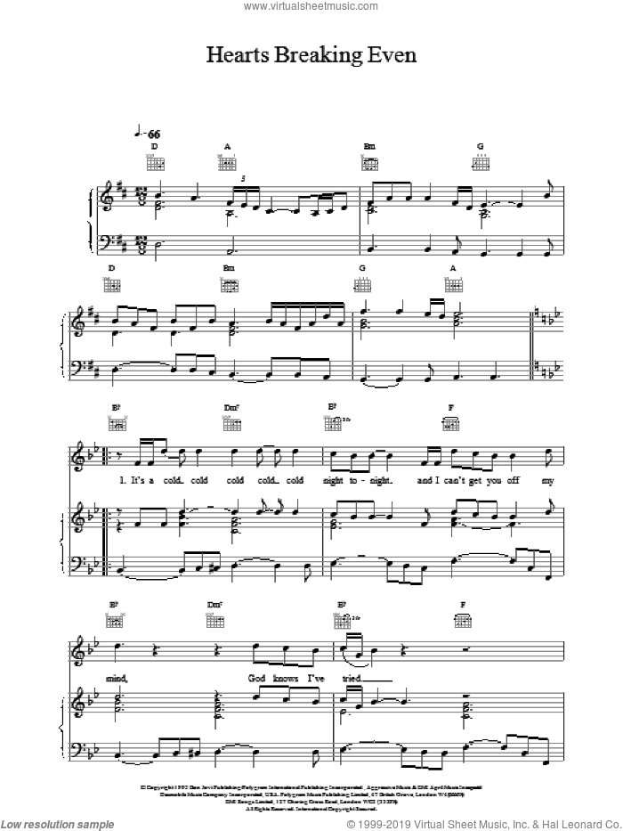 Hearts Breaking Even sheet music for voice, piano or guitar by Bon Jovi. Score Image Preview.