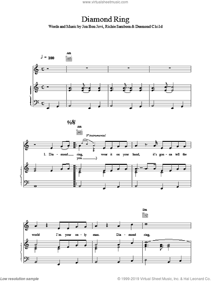 Diamond Ring sheet music for voice, piano or guitar by Bon Jovi, intermediate skill level