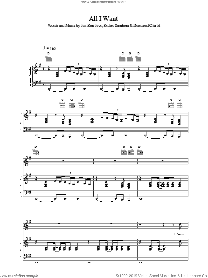 All I Want sheet music for voice, piano or guitar by Bon Jovi, intermediate. Score Image Preview.