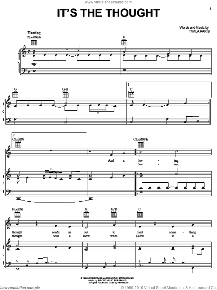 It's The Thought sheet music for voice, piano or guitar by Twila Paris, intermediate skill level