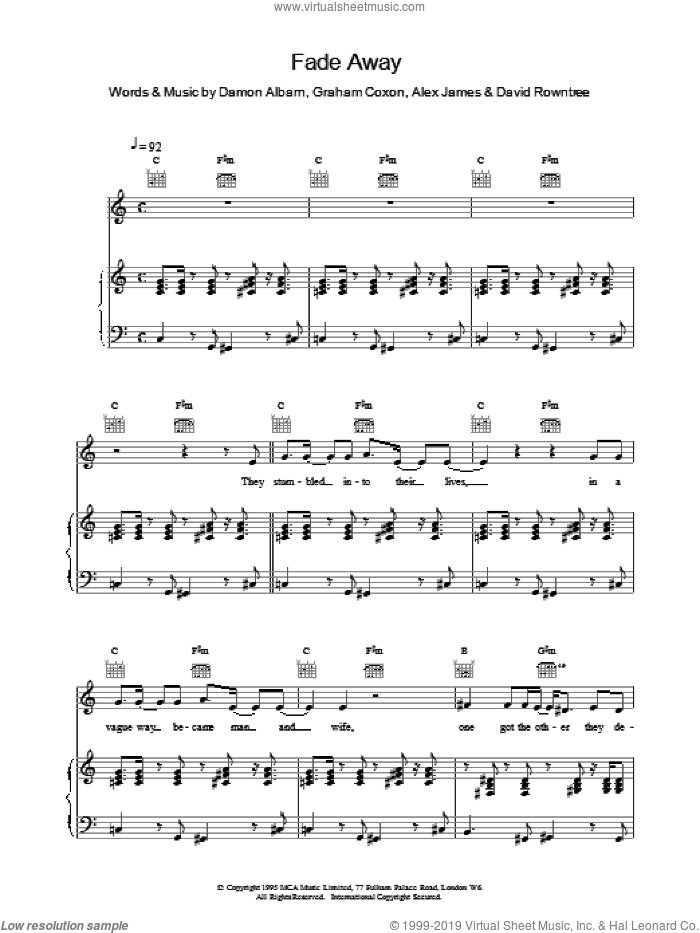 Fade Away sheet music for voice, piano or guitar by Blur