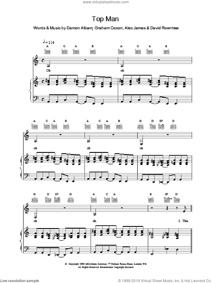 Top Man sheet music for voice, piano or guitar by Blur. Score Image Preview.