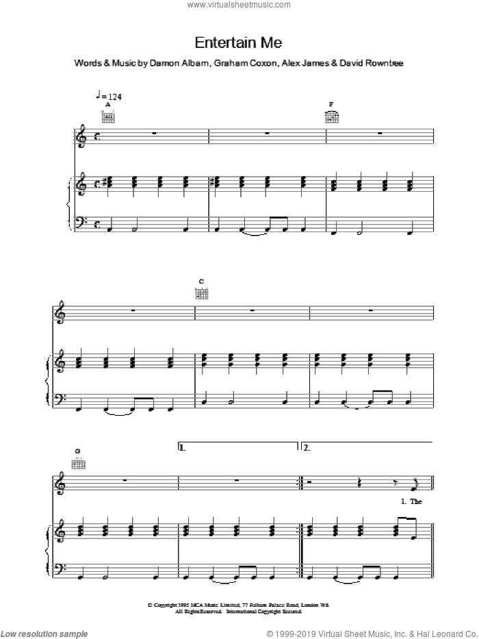 Entertain Me sheet music for voice, piano or guitar by Blur