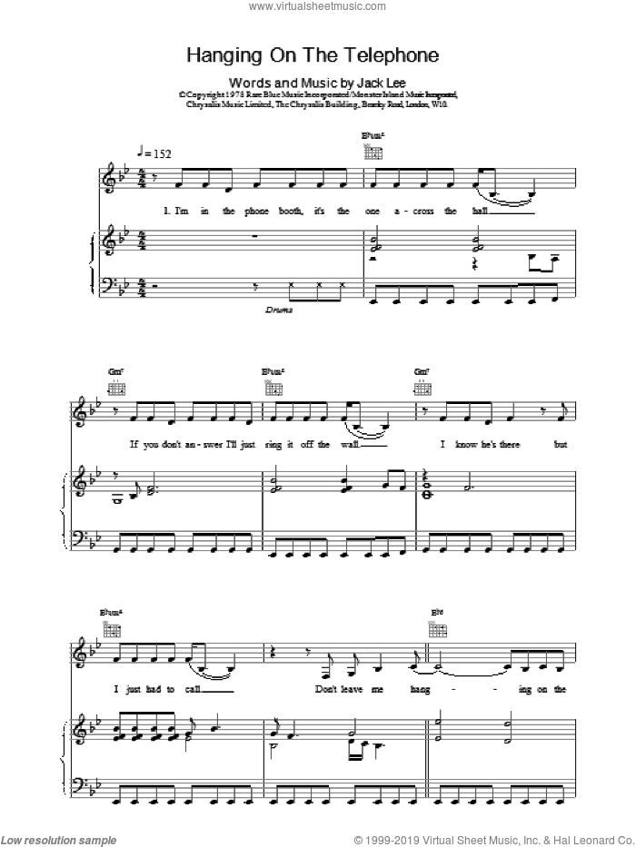 Hanging On The Telephone sheet music for voice, piano or guitar by Blondie, intermediate skill level