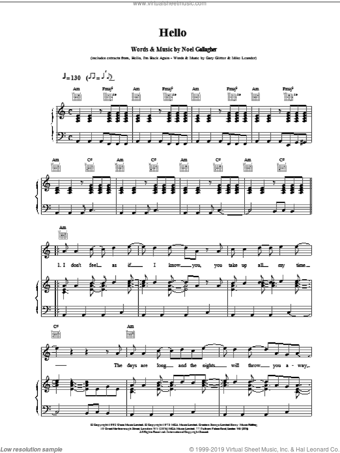 Hello sheet music for voice, piano or guitar by Oasis