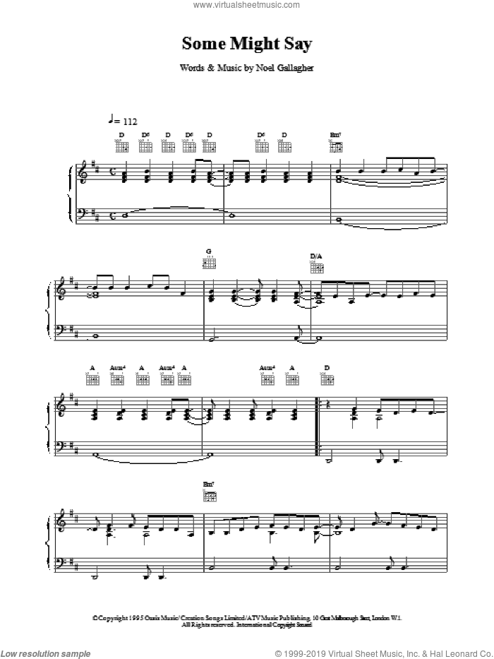 Some Might Say sheet music for voice, piano or guitar by Oasis