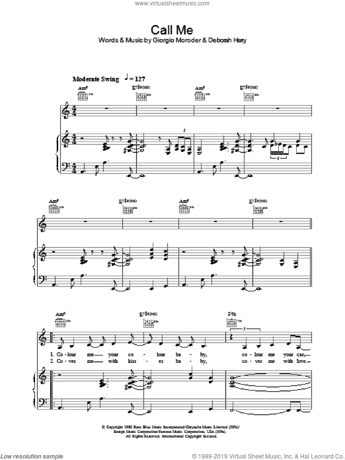 Call Me sheet music for voice, piano or guitar by Lea DeLaria, intermediate skill level