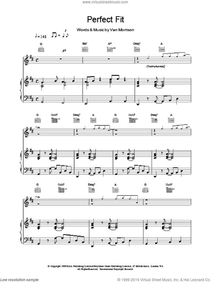Perfect Fit sheet music for voice, piano or guitar by Van Morrison, intermediate skill level