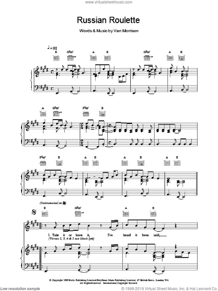 Russian Roulette sheet music for voice, piano or guitar by Van Morrison, intermediate. Score Image Preview.