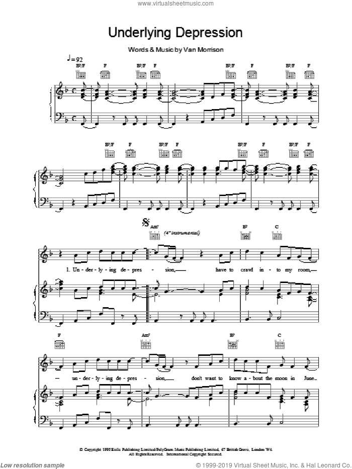 Underlying Depression sheet music for voice, piano or guitar by Van Morrison. Score Image Preview.