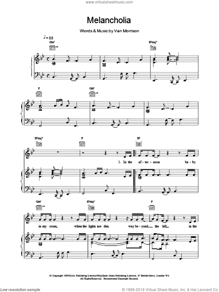 Melancholia sheet music for voice, piano or guitar by Van Morrison, intermediate. Score Image Preview.