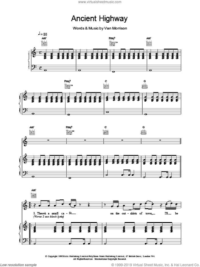 Ancient Highway sheet music for voice, piano or guitar by Van Morrison, intermediate skill level