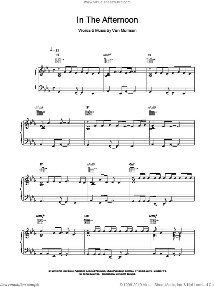 In The Afternoon sheet music for voice, piano or guitar by Van Morrison, intermediate skill level