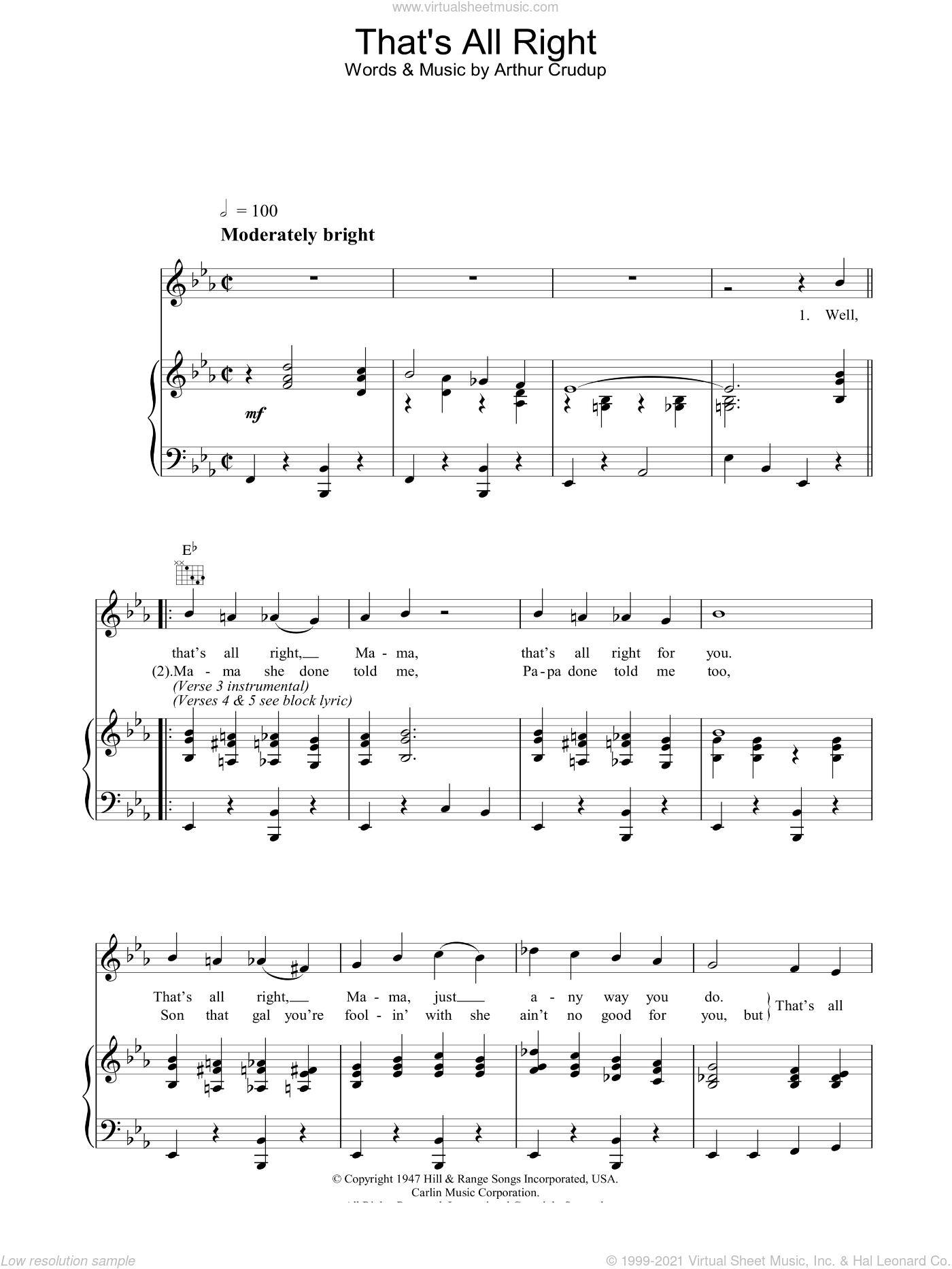 That's All Right sheet music for voice, piano or guitar by Elvis Presley and Arthur Crudup, intermediate skill level