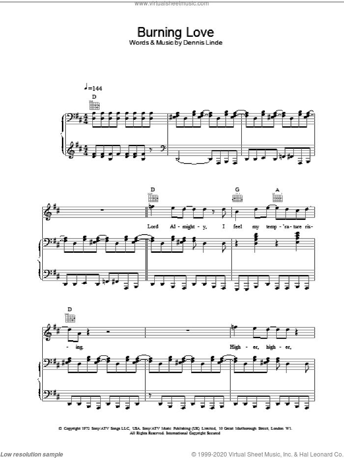 Burning Love sheet music for voice, piano or guitar by Dennis Linde